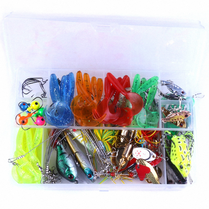 102pcs Fishing Lures Kit Mixed Swivel Spinner Grip Hooks Minnow Fish Lure Frog Soft Lure Artificial Bait Fishing Tackle Pesca fish like 30pcs lot fishing soft lure pesca simulate artificial lures kit bait with hooks mix colors