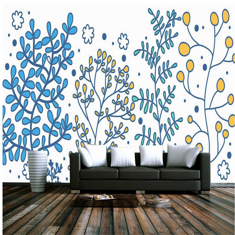 Cartoon Wallpapers Hand Painted Mural Wallpaper for Kids Room Custom Wall Papers Home Decor Cute Photo Wallpaper for Living Room custom wallpaper for walls 3 d effect flower murals simple hand painted desktops wall mural blue flower wallpapers living room