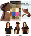 """16 """"-32"""" 100% Pelo Brasileño de Remy Flip En/on Del Pelo Humano Extensiones de cabello de halo 100g 1 unids Sencillo Set Hairpieces Trama Doble"""