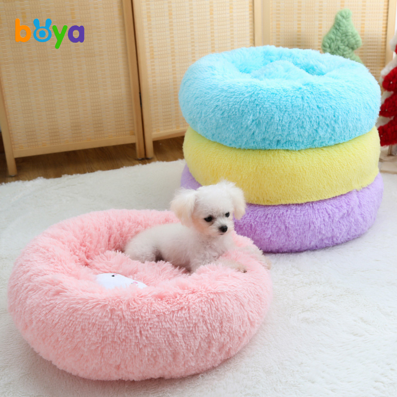 Boya Macaron Round Dog Bed Winter Warm Washable Cat Small Dog House Bed Super Soft Cotton Mascotas Cachorro ...