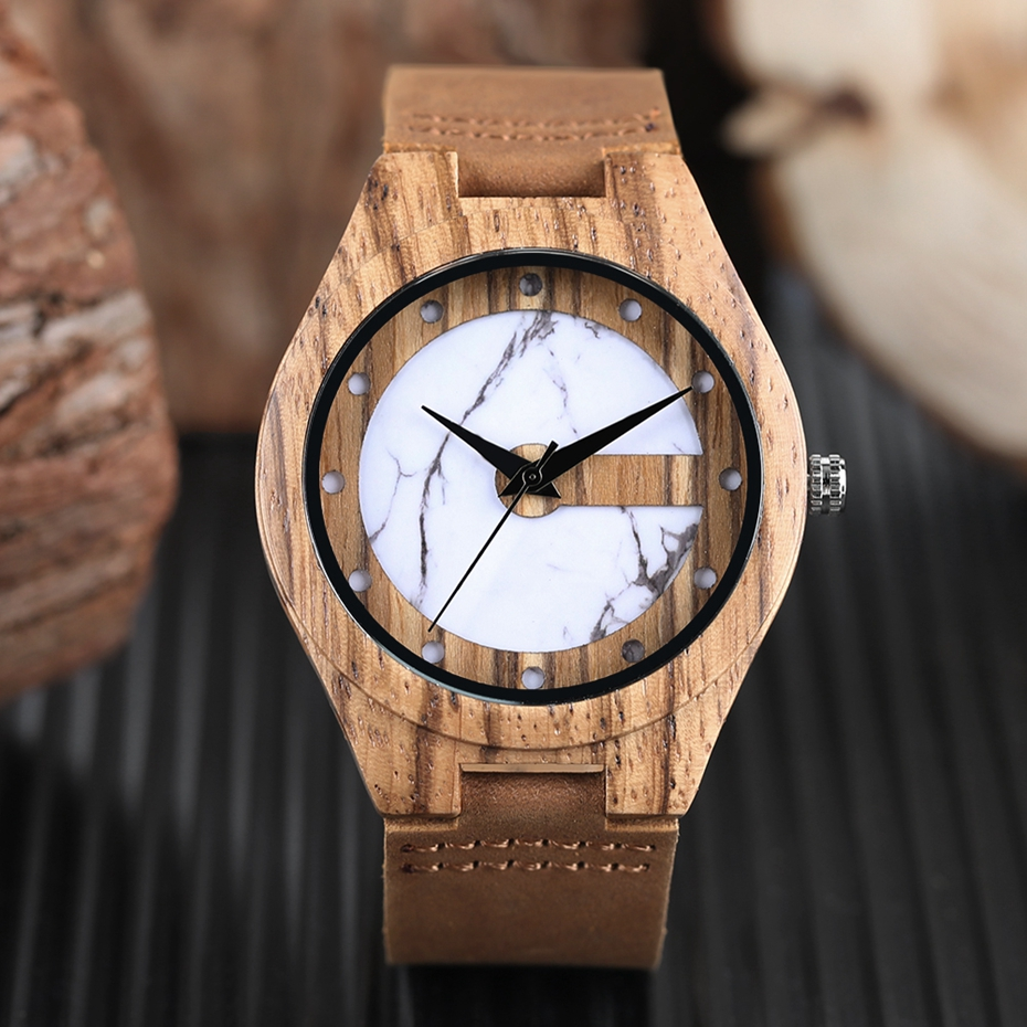 Unique Letter C Shape Luxury Green Marble Dial Men's Watch Genuine Leather Wooden Watches Quartz Watches Men Relogio Masculino Gifts (20)
