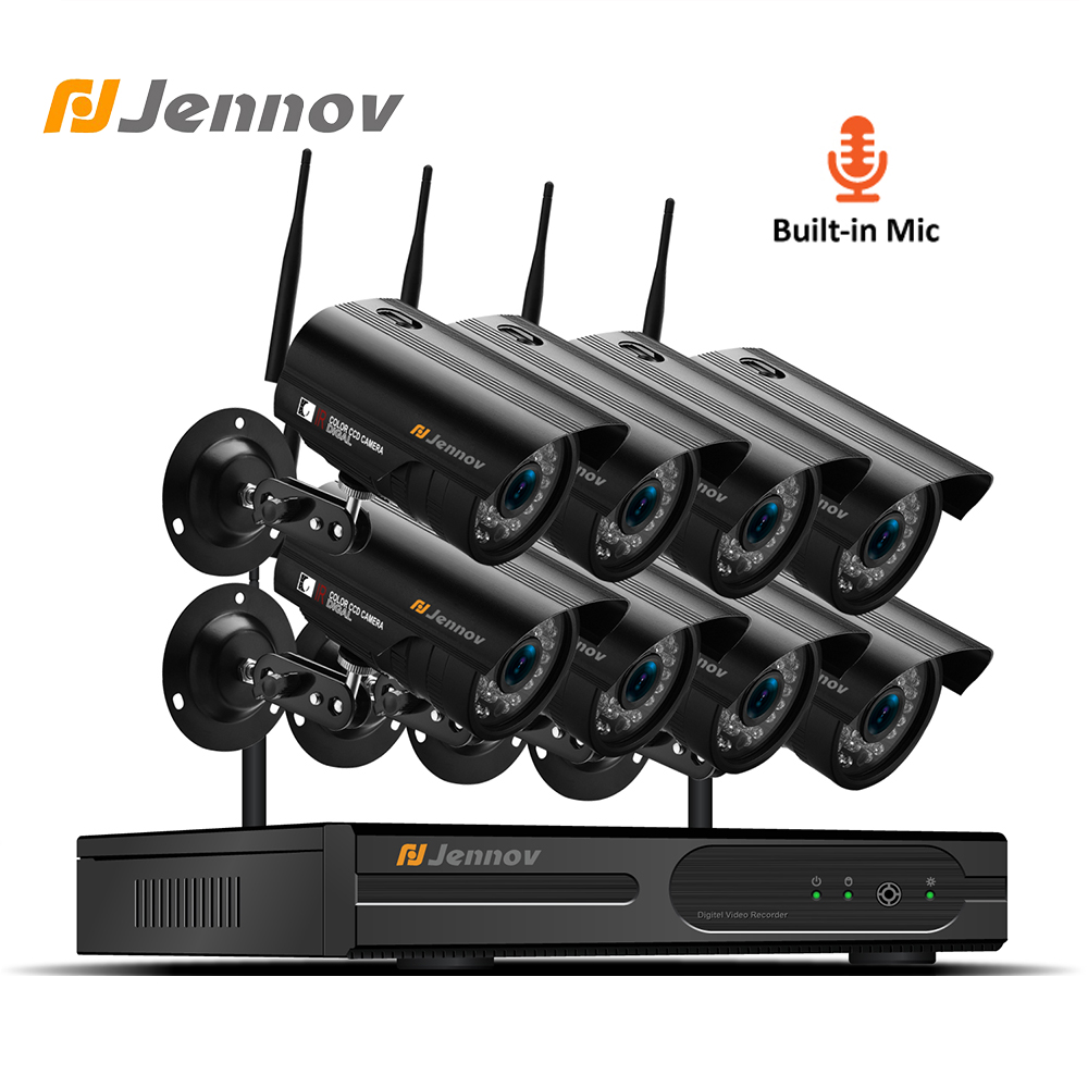 Jennov 8CH 1080P Audio Security Camera System Wifi CCTV Camera System Video Surveillance 2MP NVR Kit Outdoor IP Camera IR-Cut