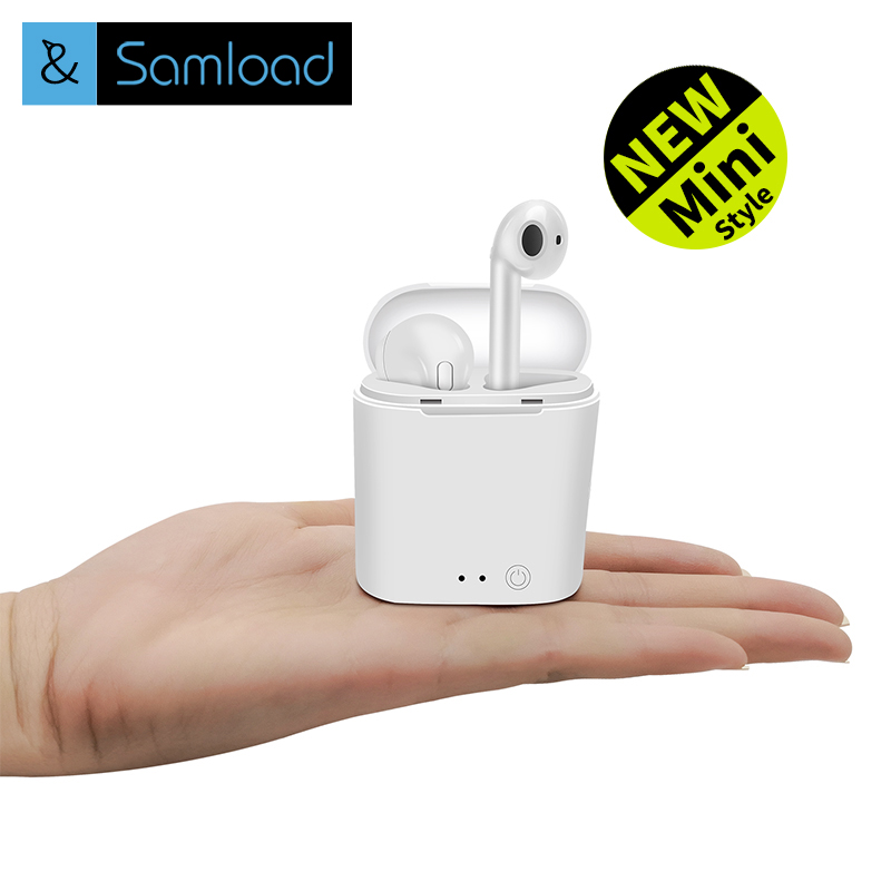 Samload i7s TWS Mini Wireless Bluetooth Earphone Stereo Earbud Headset With Charging Box Mic Headphons For All Smart phone цена 2017