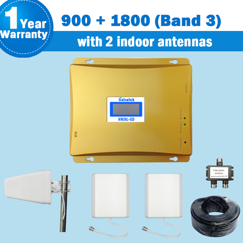 GSM 900 DCS/LTE 4G 1800 MHz (Banda 3) repetidor de doble banda con 2 antenas de Panel de interior 2G/4G celular kit amplificador de señal móvil repetidor 4g lte repetidor 1800 900mhz amplificador movil kit de refuerzo