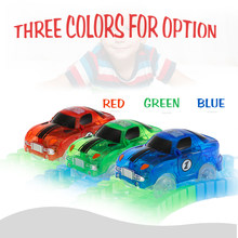 Electronics LED Car Toys for 55mm 45mm Flashing Lights Flexible Track Race Car Toys Neon Glow in Darkless for Kids Birthday Gift(China)
