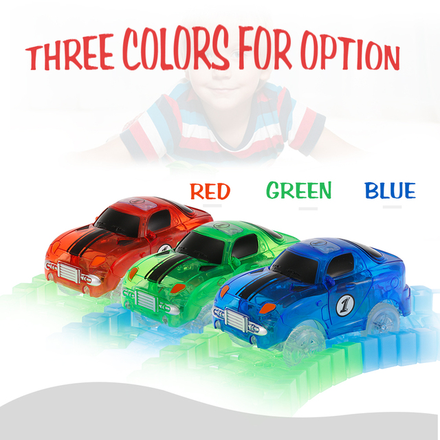 Electronics LED Car Toys for 55mm 45mm Flashing Lights Flexible Track Race Car Toys Neon Glow in Darkless for Kids Birthday Gift