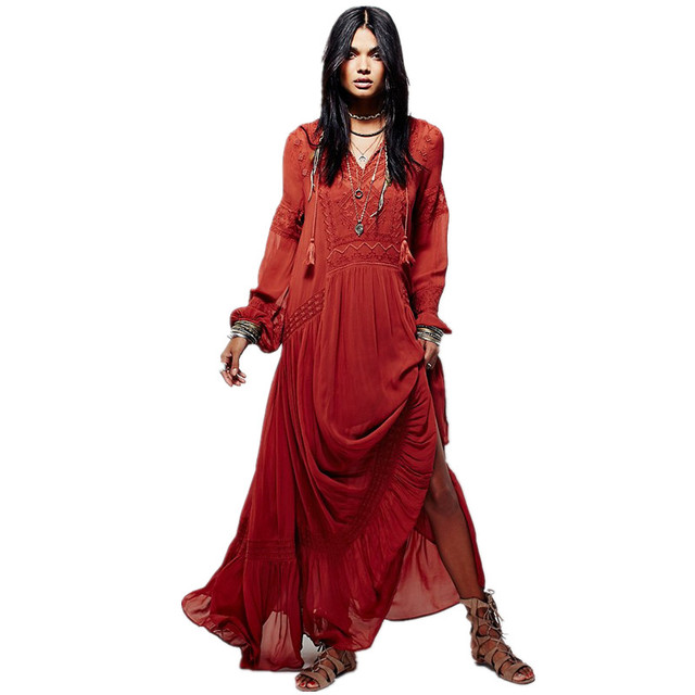 New Vintage Party Dress Women S Fall Boho Embroidery Bohemian Split Maxi Long Dresses People Hippie Loose