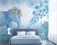beibehang Classic Nordic hand-painted wallpaper elephant flower children bedroom living room background wall papers home decor