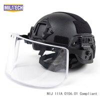 MILITECH BK ACH ARC OCC Dial Liner NIJ level IIIA 3A Kevlar Bulletproof Helmet With Tactical Ballistic Visor Shield Set Deal
