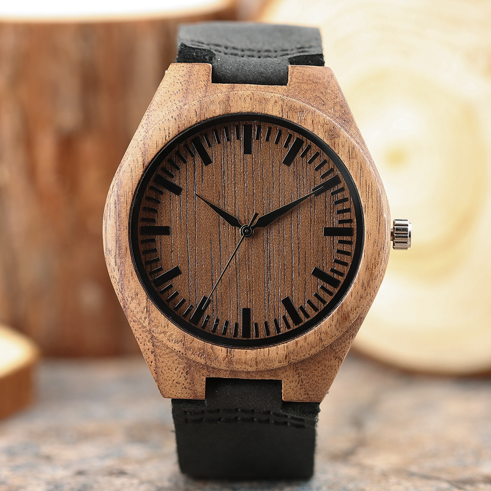 Men Handmade Wooden Watch Nature Bamboo Novel Women Black Genuine Leather Band Simple Bangle Wrist Watch Gift Relogio Masculino 2017 nature wooden wrist watch roman numbers brown genuine leather band strap hot men bamboo watches for gift