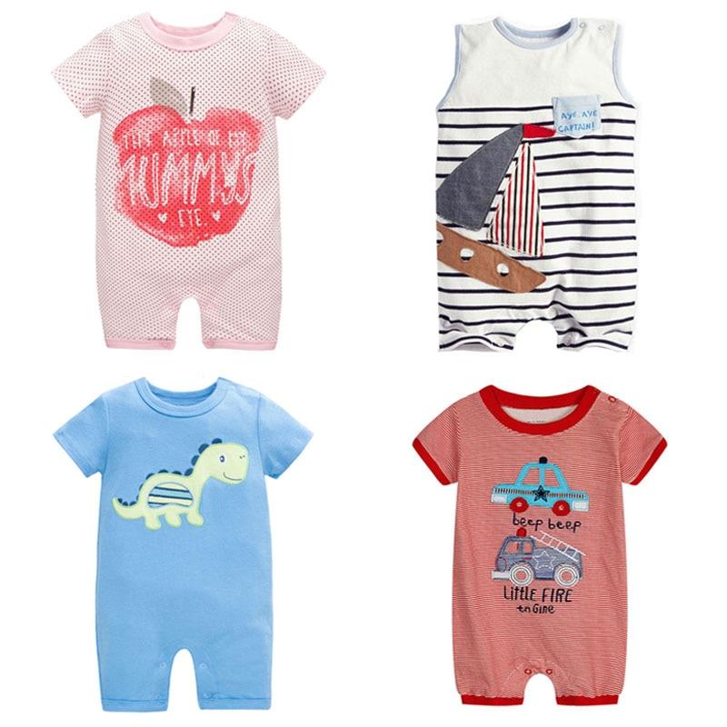 21 Stílus, Új 2019 Nyár 100% Pamut Ropa Bebe Újszülött Fiúk Ruházat Ruházat Rövid ujjú ruha Rövid ujjú Romper Baby Boy