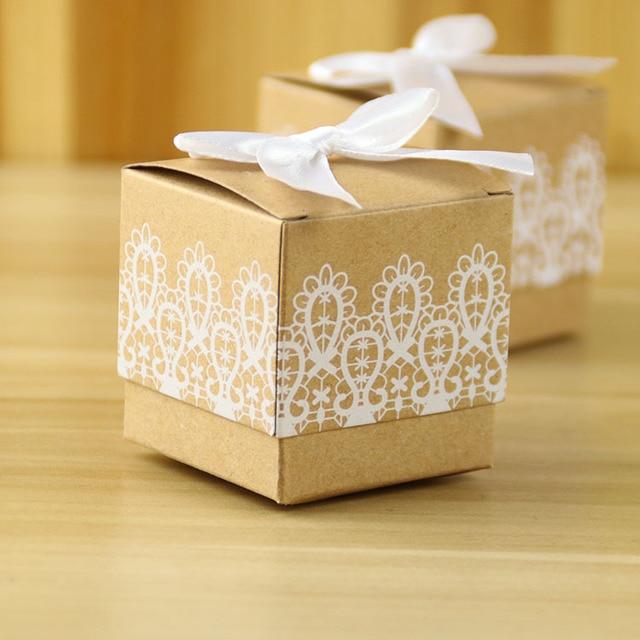 50 X Rustic Lace Vintage Paper Bomboniere Favor Boxes For Wedding