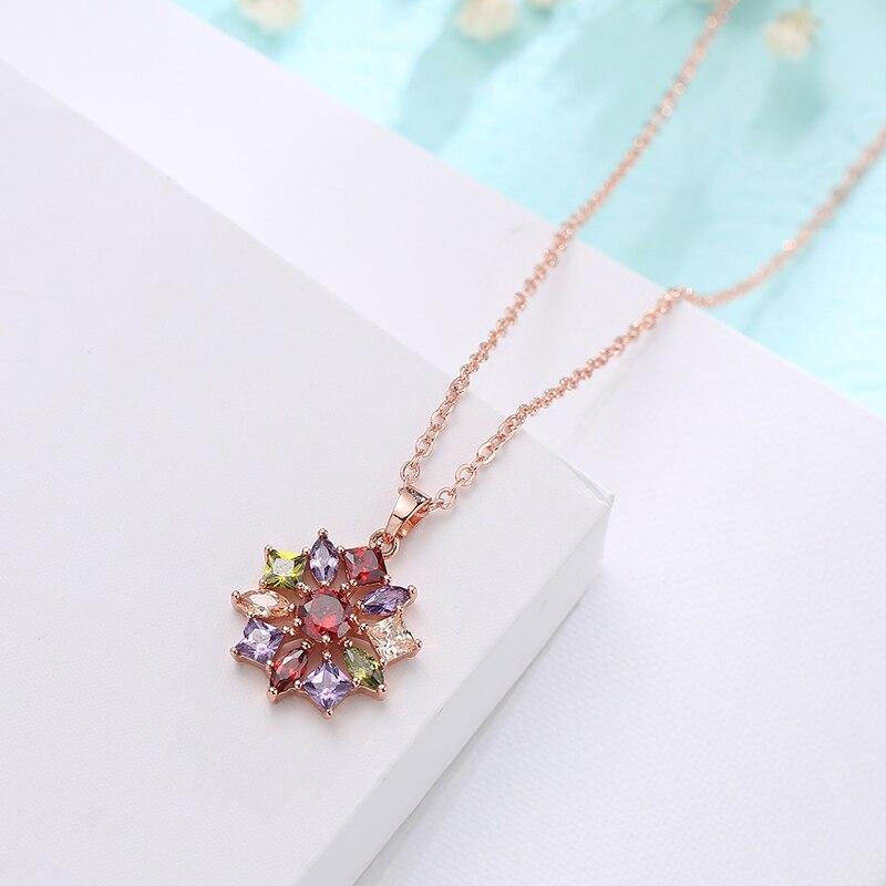 FYM марка розовое золото Цвет Свадебные украшения комплекты и больше для Для женщин высокое качество Цвет ful zircon Цепочки и ожерелья кольцо по...