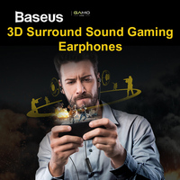 Baseus H08 Real 3D Stereo Game Wired Earphone 3.5mm Jack Dual Driver with Mic for PS4 Gaming Earpiece Phone Music auriculares