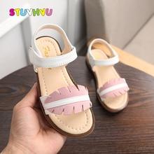 2019 Summer New Girls Sandals Cute Leaf Toe Kids Beach Shoes