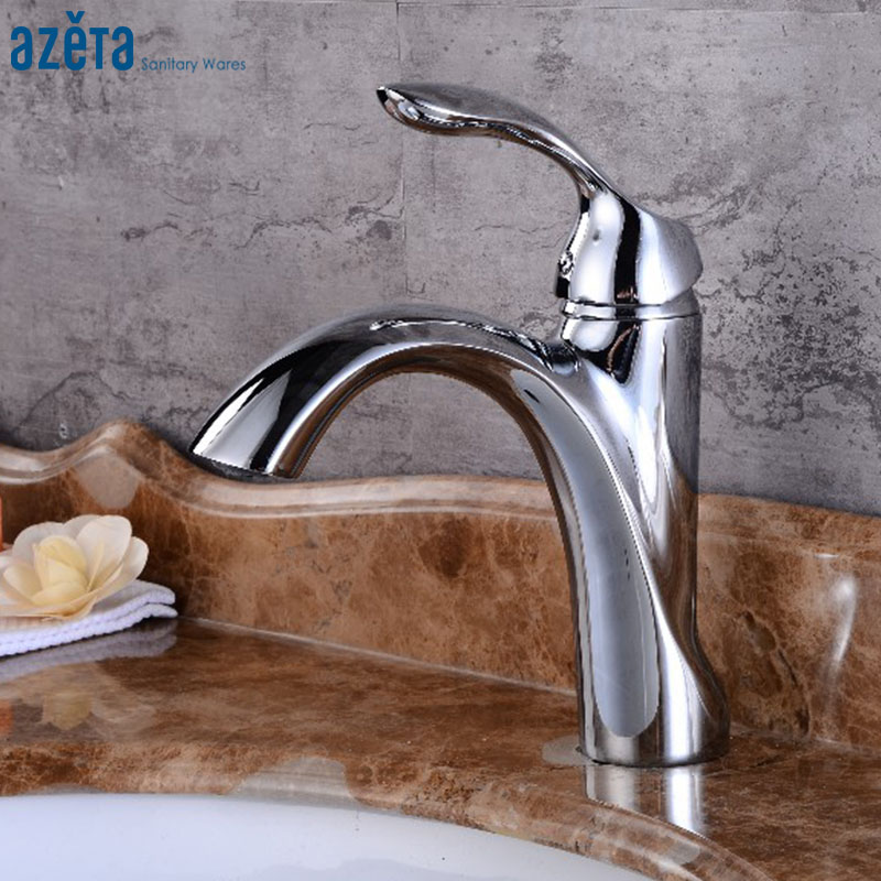 Bathroom Chrome Plated Single Handle Deck Mounted Arc Shaped Water Outlet Basin Faucet Brass Material Basin