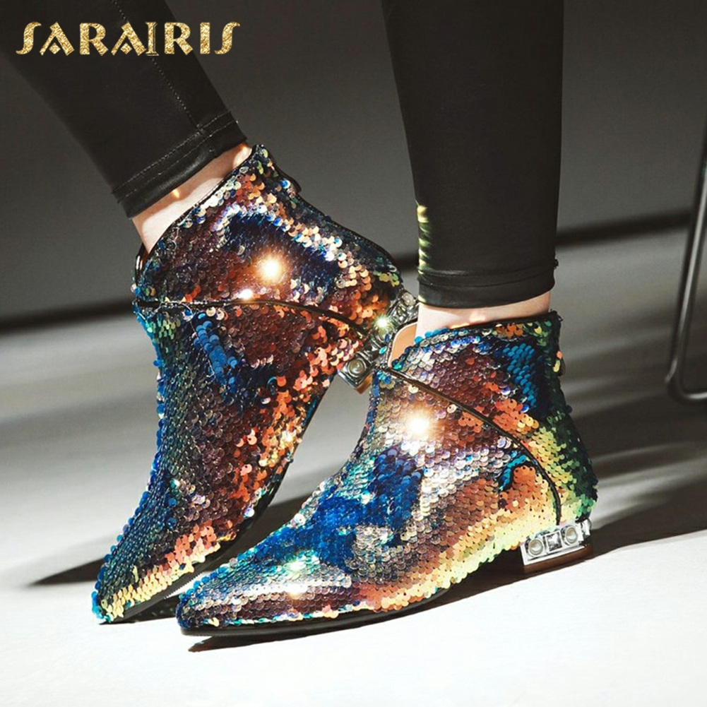 SARAIRIS New plus Size 32-43 Sequin Add Fur Winter Boots Woman Shoes Hot Sale Square Heels Zip Up Ankle Boots Shoes WomanSARAIRIS New plus Size 32-43 Sequin Add Fur Winter Boots Woman Shoes Hot Sale Square Heels Zip Up Ankle Boots Shoes Woman
