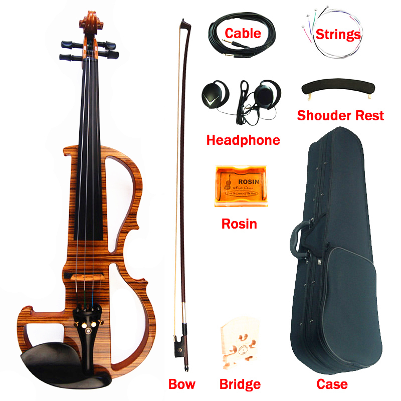 High Quality Advanced Electric Violin 4/4 Hand Made Zebrawood Laminate Visual Art Violin With Ebony Parts Case Bow 4 4 5 string new violin neck man head hand carve high quality 1 2