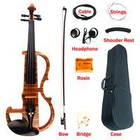 High Quality Advanced Electric Violin 4 4 Hand Made Zebrawood Laminate Visual Art Violin With Ebony