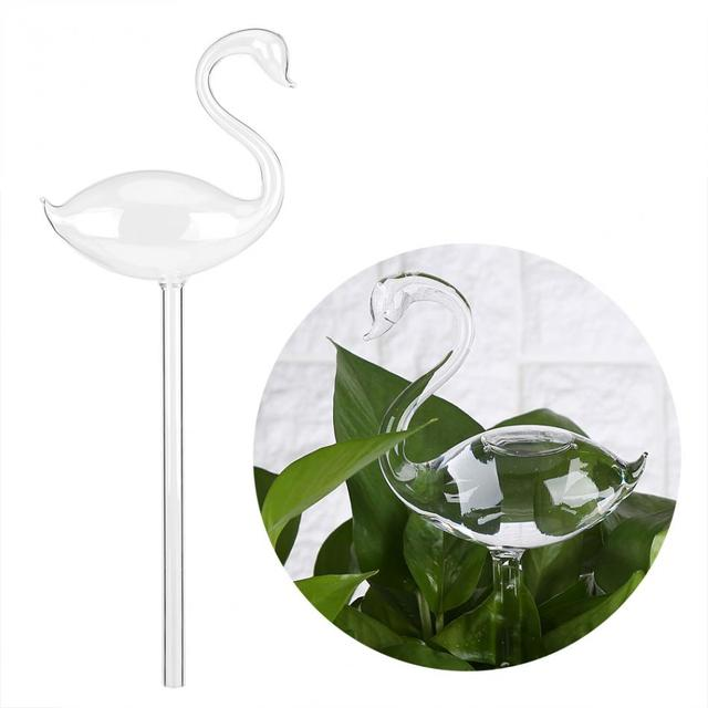 House Plants Flowers Automatic Self Watering Devices Clear Glass Water Feeder Swan Shape