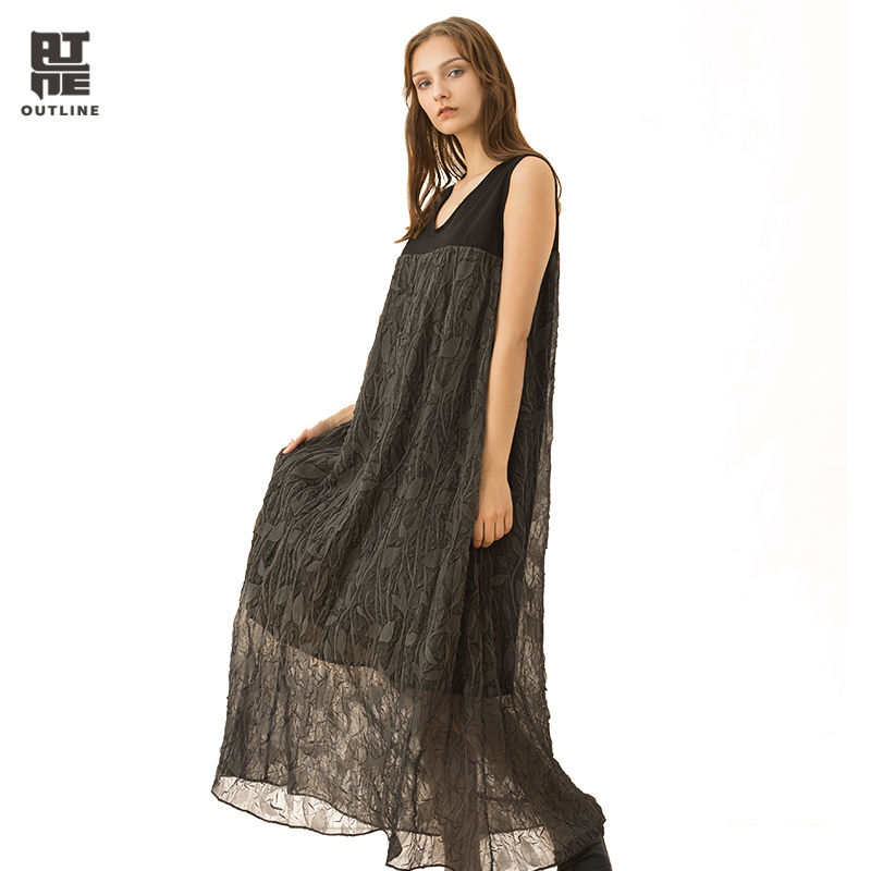Здесь продается  Outline Women Black Grey Casual Summer Dresses Ankle-Length Wrinkle Sleeveless Pullover Vintage O-Neck Loose Vestidos L182Y029  Одежда и аксессуары
