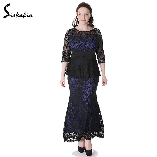dbaf82d851b Siskakia 2017 lace long Dress Autumn Winter women evening Dinner Dresses  maxi elegant lace panelled patchwork big size slim Fit