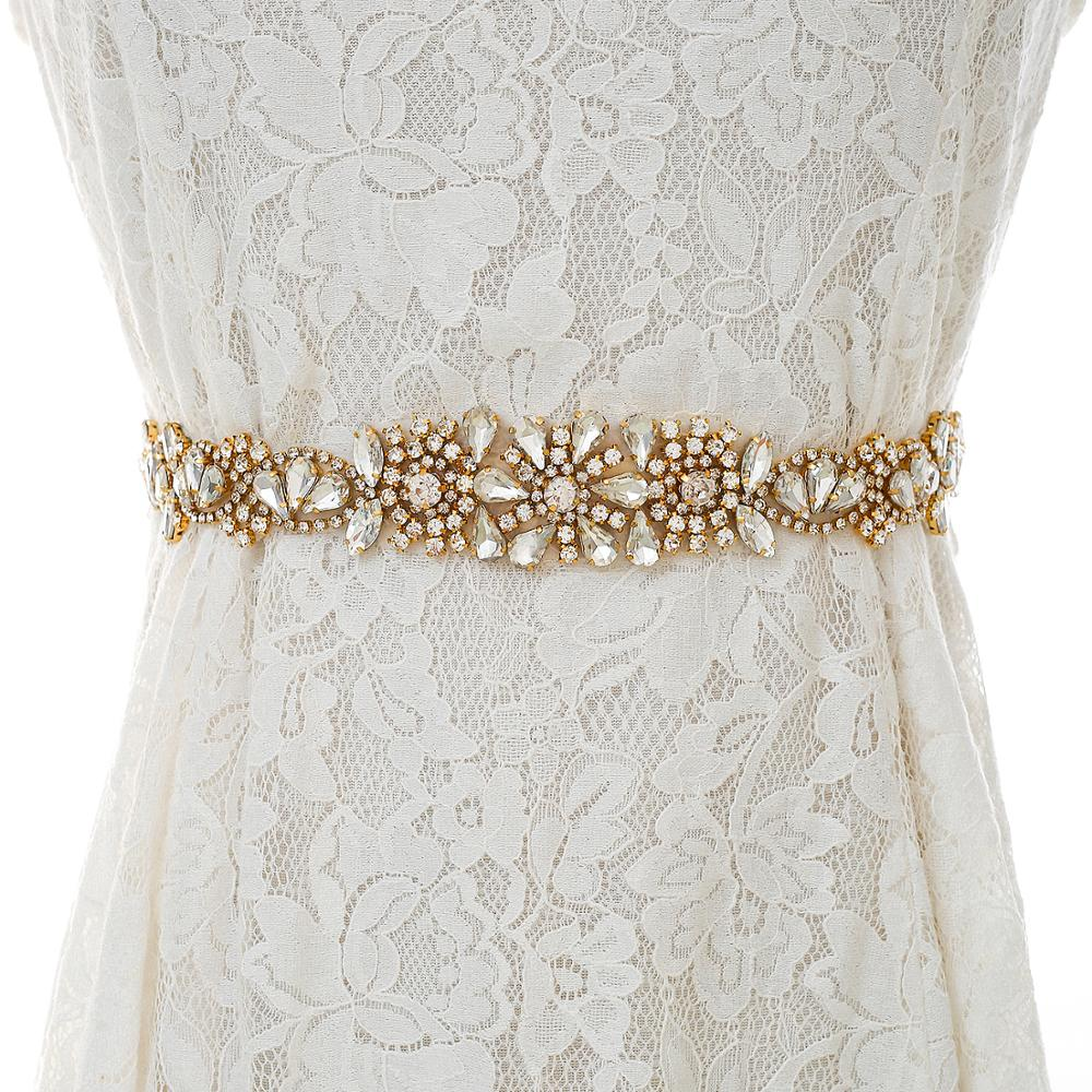 Handmade Beads Bridal Belt Rhinestones Wedding Belt  Gold Crystal Sash Belt For Wedding Party Dress S138G