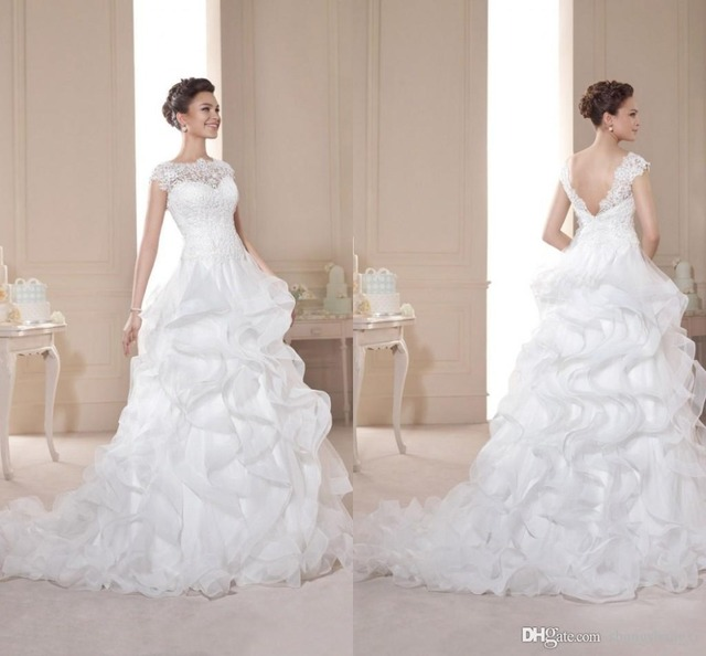 Elegant A Line Lace Bodice Organza Bridal Wedding Gowns Ruffled