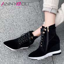 ANNYMOLI Women Boots Autumn Ankle Cow Suede Zipper Wedges Heel Short Lace Up Super High Shoes Ladies Size 34-39