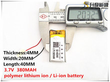 5pcs [SD] 3.7V,380mAH,[402040] Polymer lithium ion / Li-ion battery for TOY,POWER BANK,GPS,mp3,mp4,cell phone,speaker