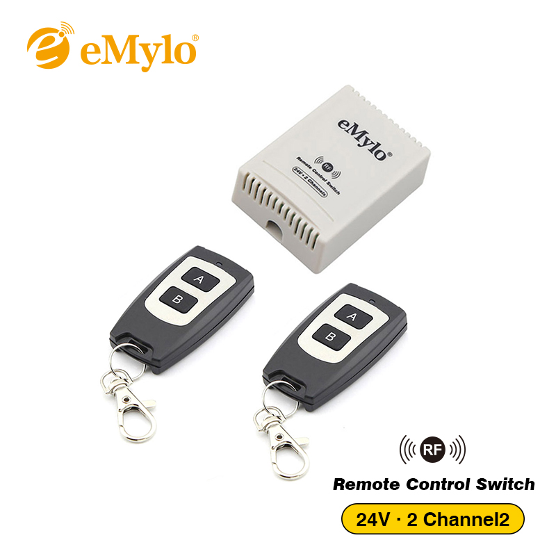 eMylo Swith DC 24V Smart Wireless RF Remote Control Light Switch Black Transmitter 2-Channels Relay 433Mhz Window Lamp curtain цена