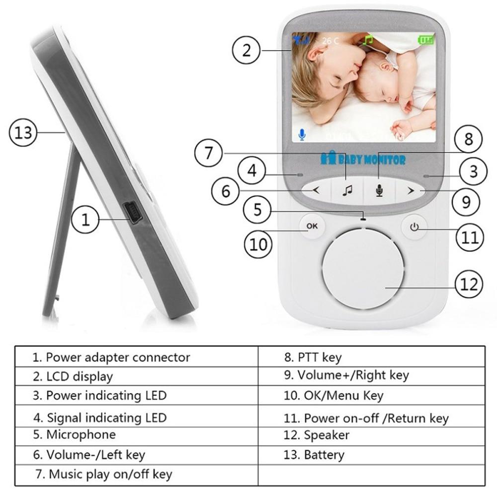 LESHP Wireless Audio Video Baby Monitor 2.4 Inch LCD VB605 Radio Nanny Music Intercom Baby Camera Night Vision Babysitter