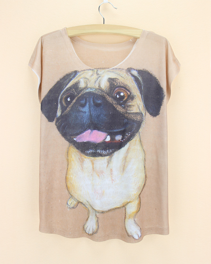 Design t shirt sell - 2015 Hot Selling Real 3d Women T Shirts Short Sleeve Novlety French Pugs Printed T Shirts Big Size Girls Tops Fashion Design Tee
