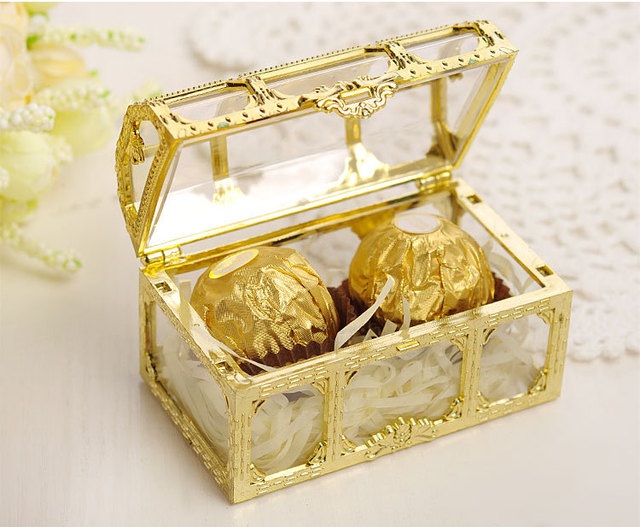 120pcs Creative Gift Box Small Jewelry Storage Style Gold Silver Plastic  Candy Box Treasure Chest Shaped
