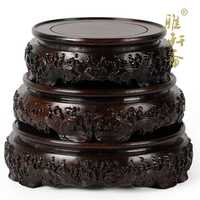 Zhai kamień rzemiosło mahoń baza TZ podstawa z litego drewna okrągłe akwarium doniczka wazon ozdoby.