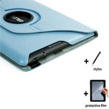 3in1 giratorio de 360 grados folio stand funda de cuero de lujo case cover + clear protector de pantalla + stylus para asus memo pad 10 me102a k00f