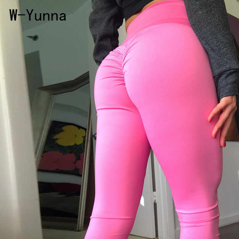W Yunna Big Ass Solid Color Sexy Women Legggings Ankle Length Slim Push Up Leggings