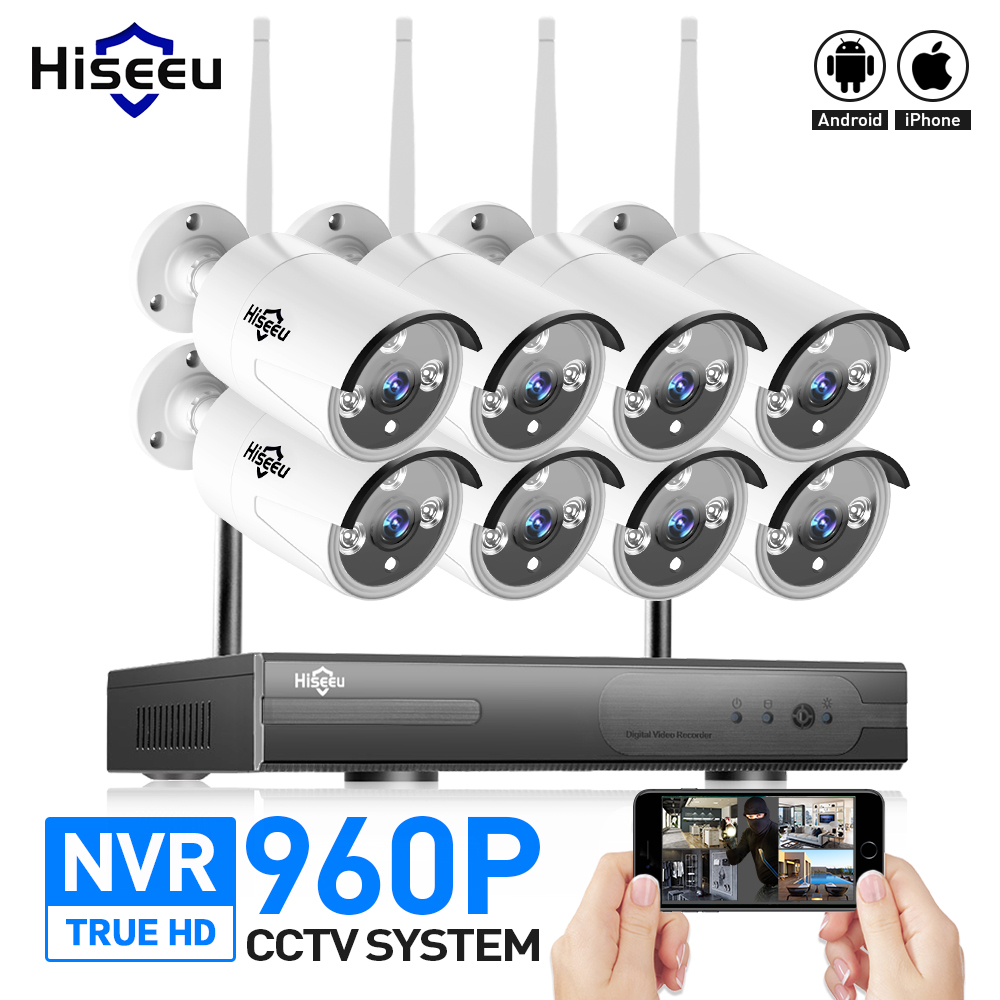 3T HDD 8CH 960P Wireless CCTV System IP Camera WIFI DVR NVR kit Outdoor CCTV Camera Home Security System Surveillance Hiseeu