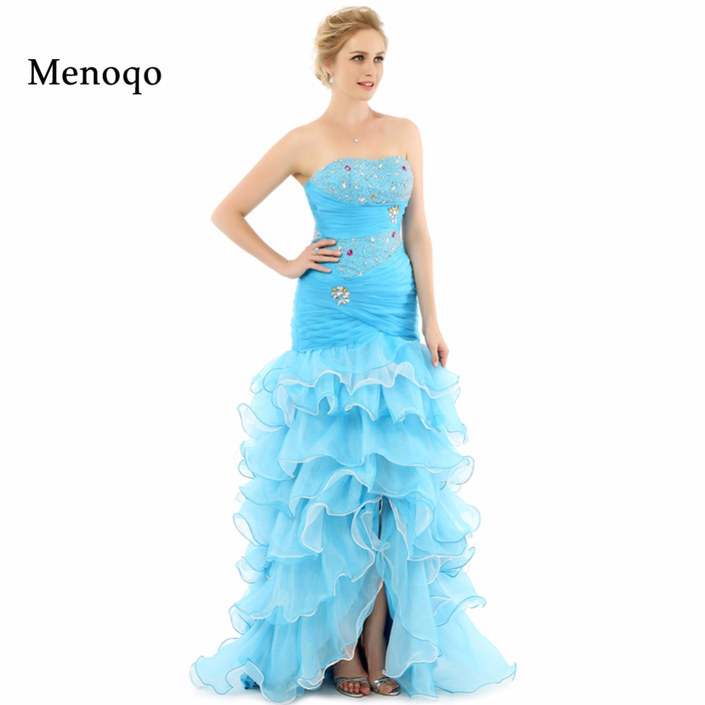 Vestidos de festa Abendkleider Mermaid Beaded Tiered Organza Front Open  Special occasion Actual Image women prom dress long