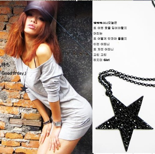 Italina Elegant Lady Star Necklace Black Gun Plated Fine Chain Jewelry  Star Pendant Necklace For Women Wholesale C187