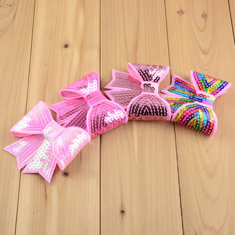 Wholesale Computer Embroideried Sequin Bows Girls Hair Accessories Boutique Bows Hair Ornaments 200pcs lot Free Shipping