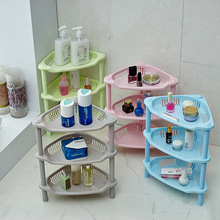 Eco-feiendly Colorful bathroom racks aircraft finishing three square plastic storage rack kitchen bathroom toilet