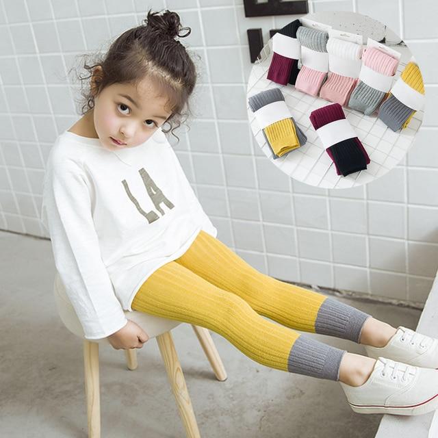 От 1 до 8 лет дети девочек Качественный хлопок колготки шить Цвет теплые колготки для девочек длинные носки без пятки