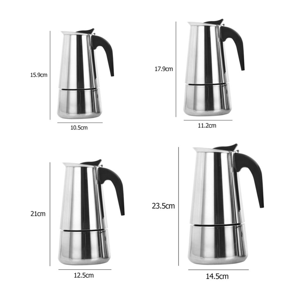 Stainless Steel Coffee Maker Pot Mocha Moka Espresso Latte Stovetop Coffee Pot Filter 100ML 200ML 300ML 450ML Coffee Machine (12)