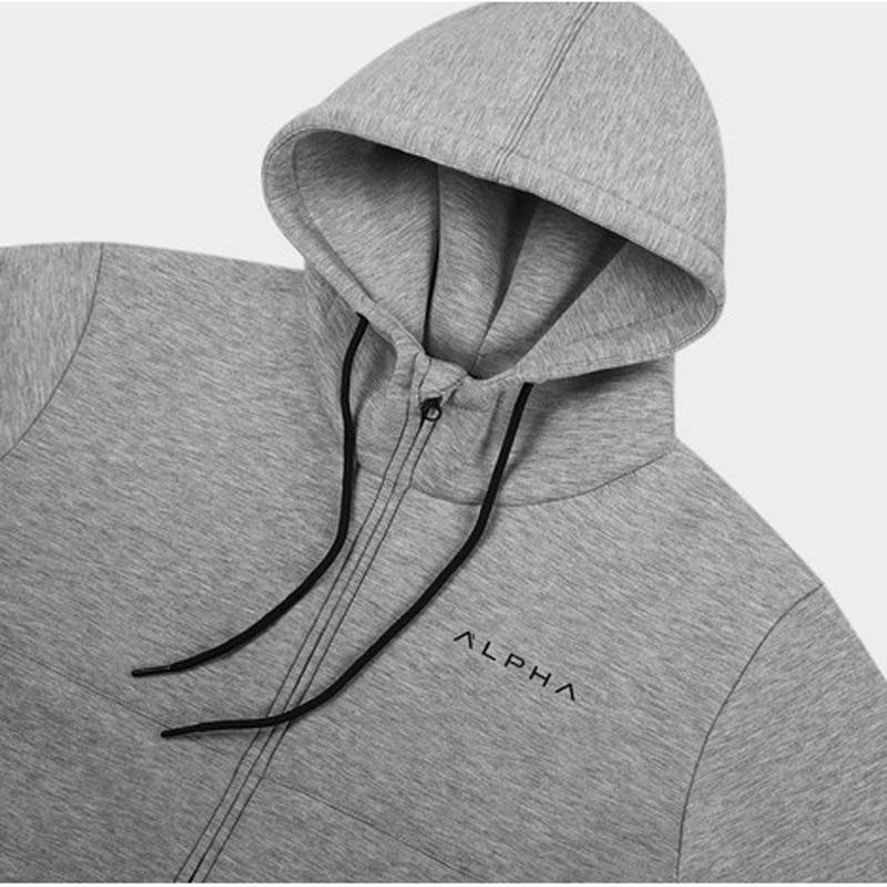 Alpha Serie 2019 Neue Casual Hoodie Hip Hop Straße Tragen Sweatshirts Gym Skateboard Männer Zipper Hoodies Männlichen Einfarbig Hoodies äSthetisches Aussehen