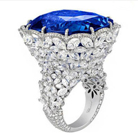 Qi Xuan Fine Jewelry Customized Luxury Natural Tanzanite Sapphire Flower Rings 925 Sliver Ring Factory Directly