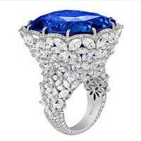 Qi Xuan_Fashion Jewelry_Customized роскошный синий камень цветок Rings_S925 Твердые Щепка кольцо с голубым камнем _ завод прямые продажи