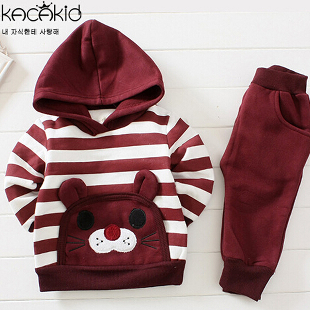 Brand New Baby Clothing Sets Long Sleeve Cartoon Cat Clothes Set 2pcs Hooded Top+Pants Cotton Baby Infant Boy and Girl Clothes