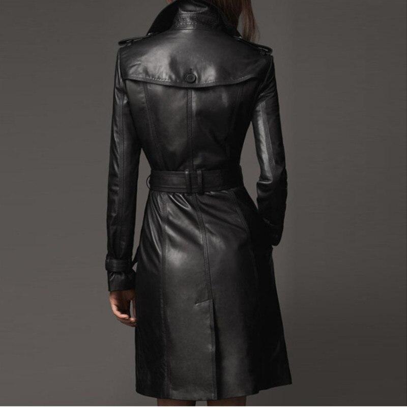 YAGENZ Fashion Women Windbreaker Leather Jacket Spring Autumn Large Size Womens Clothing Leisure Leather Tops Long Section 512
