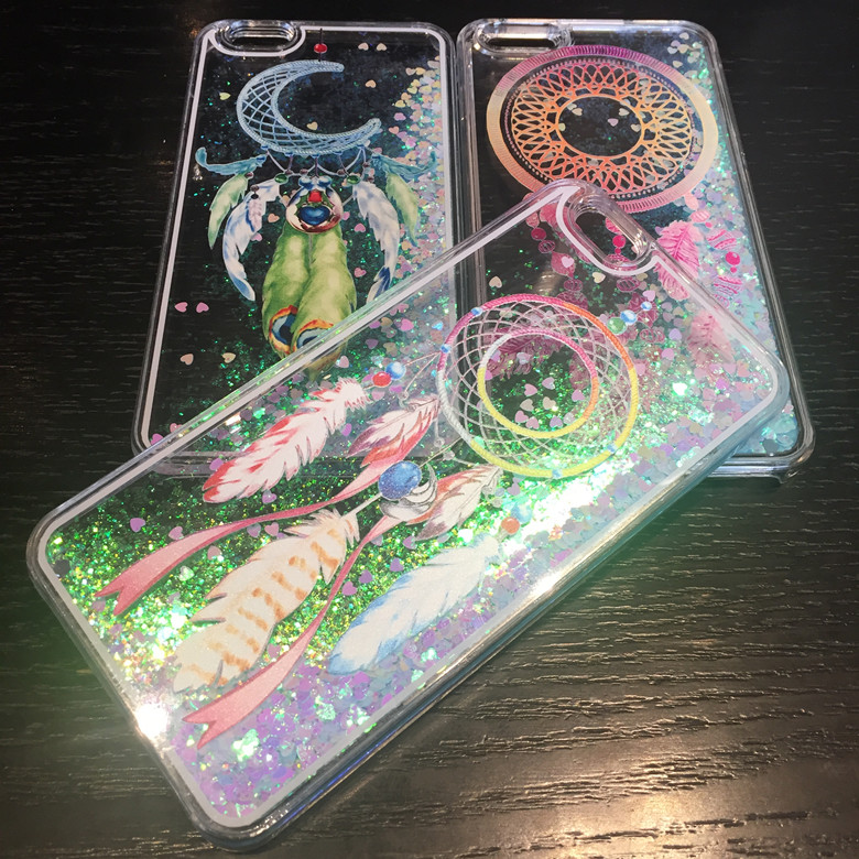 10PCS Sparkling Dream Catcher Quicksand Phone Case Liquid Clear Half Cover Casing For iPhone8 7plus 6S Back Shell Protection